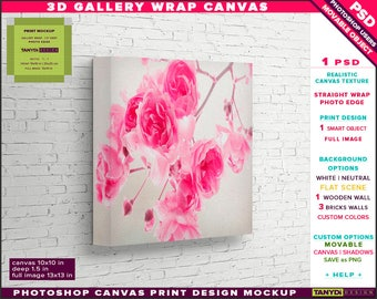 10x10 Gallery Wrap Canvas 1.5in Deep | Photoshop Print Mockup Photo Edge | Photo Canvas on Bricks Wall | Smart object Custom colors