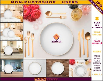 White Dinner Plate | Table Styled JPG Scenes P4-C1 | Non-Photoshop | Set of 2 Plates | Fabric Wood Table Cutlery | Kitchen Interior