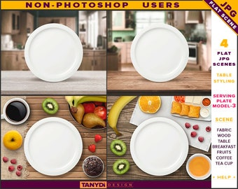 White Serving Plate | Table Styled JPG Scenes SP3-C1 | Non-Photoshop | Fabric Wood Table | Breakfast Fruits Cutlery Coffee Cup | Kitchen