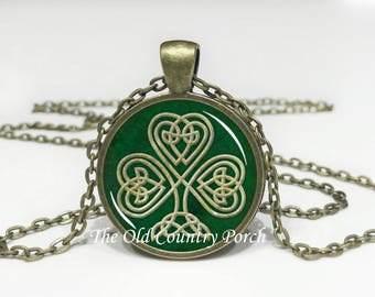 Celtic Shamrock - Irish - St. Patricks Day -Glass Pendant Necklace