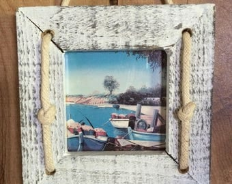 vintage distressed Wood 3 piece Nautical Wallhanging picture Frames
