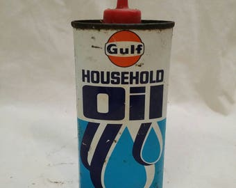 Gulf household antique oil can