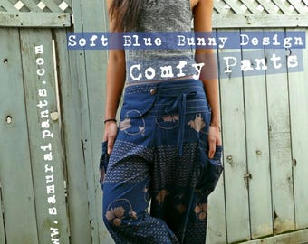 New soft blue Bunny design Comfy Pants (Unisex)