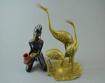 Vintage brass crane bird sculptur figurine, Mid Century Design, popular design object of the 60s