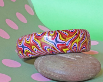 Bangle - Scarlets Dancing ! - Handmade - Unique Retro Psychedelia Style - Polymer Clay