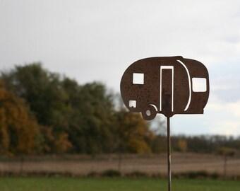 Metal Vintage Camper Garden Stake, camper sign, camping, happy campers, camping sign, RV sign, metal camping stake, teardrop camper