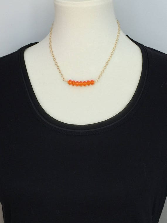 Tangerine Swarovski Crystal Bar Necklace,  14k Yellow Gold Filled