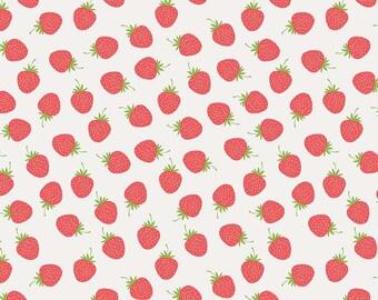 1/2 Yard Butterflies and Berries by Riley Blake Designers- 6943 White Strawberries