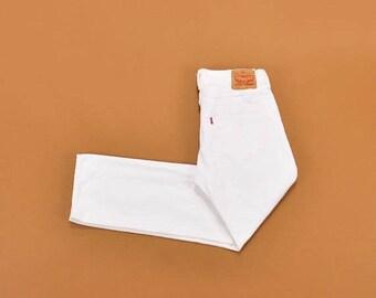 SALE Vintage Levis 501 Jeans, Rare White Levi 501s, 90s White Jeans, High Waist Jeans, Button Fly Straight Leg Jeans, Mens Levis Size 32