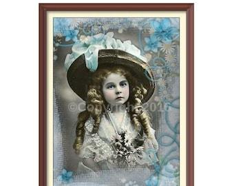 On Sale- Girl Flowers Altered Digital Art Collage Vintage Victorian Child Ephemera Instant Download  Printable  Image Digital Photo