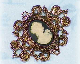 Brooch Victorian Cameo Pin Black Classic Lady Gothic Vintage Style Steampunk Antique Gold Style