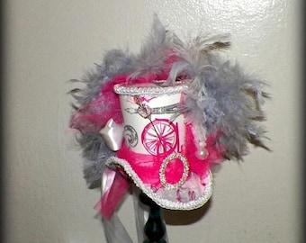 On Sale- Pink Fasinator Mini Top Hat Tea Party White Gray Steampunk Headdress Cosplay Costume Wonderland