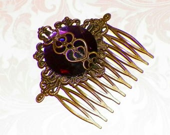 Victorian Hair Comb Purple Vintage Style Bridal Rose Gyspy Boho  Steampunk Wedding Gothic Bohemian Reproduction