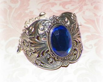 Silver Cuff Bracelet Sapphire Blue Goth Wide Victorian Vintage Sterling Statement Style Steampunk Cosplay Costume Gothic Antique Style