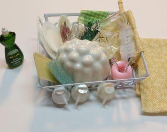 1:12 Dish rack & Soap Set dollhouse miniatures