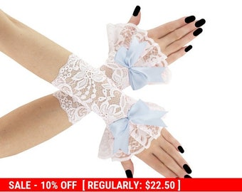 White blue lace short fingerless gloves, wrist warmers wedding burlesque goth vintage bridal womens evening glove, lolita lace gloves 01tP