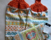 Two Colorful Towels with Crochet Tops and a matching Oven Mitt