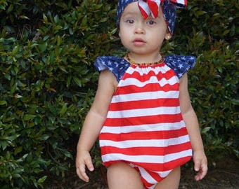 Stars and Stripes, american flag, 4th of july, romper body suit