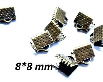 Set of 50 clasp fasteners with buckle, bronze color, 8 * 6 mm