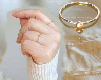 Gold Ball ring Solid 9ct (375) GOLD Band Ring Midi Ring Toe Ring 1mm. All sizes