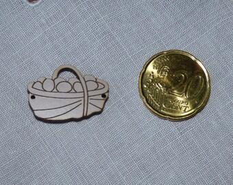 Wood basket button collar Sepia eggs
