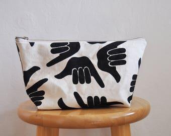 zipper bag // shaka // medium // handprinted // black and white