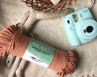 Macrame cord, tan cotton rope, naturally dye, macrame rope, cotton cord 3 mm, macrame cord, 3mm twisted rope, macrame project