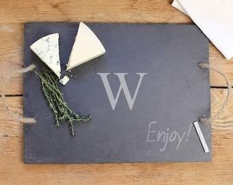 Personalized Slate Serving Board-Monogram Chalk Board Cheese Tray