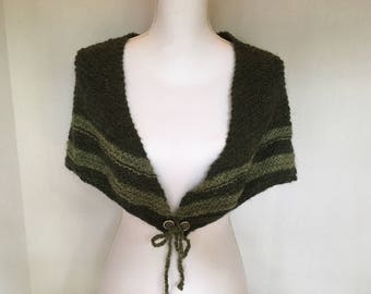 Hand Knit Wool Shawl with Cetlic Buttons