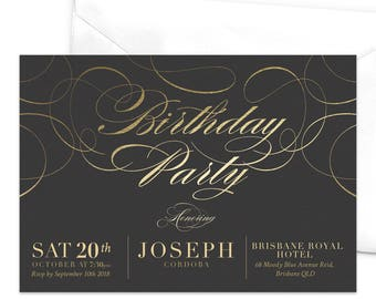 Elegant Birthday Party Invitation / Golden Swirls Party Invitation / Adult Birthday Party Invitation / Black and Gold Vintage Party Invite