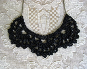 Crochet bib necklace, black necklace, statement jewelry, vintage lace jewelry, goth gift, crochet jewelry, crochet necklace, black jewelry