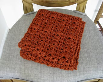 Crochet infinity scarf, orange scarf, crochet circle scarf, crochet lace scarf, crochet scarf, infinity scarf, orange circle scarf