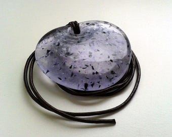 Lavender glass pendant, made from cast glass in lavender, black & clear, metal-free.