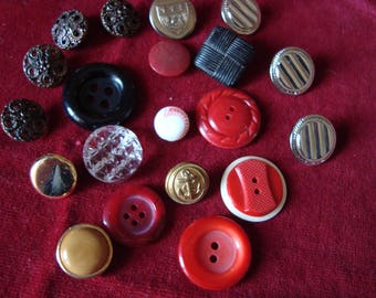 set of 20 old 50 years, square and round buttons