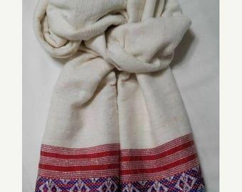 SUMMER BLOWOUT SALE...thru 07/15/17!...Women's 100% Handwoven Ethiopian Cream Cotton Scarf w/ Red-White-Blue Design