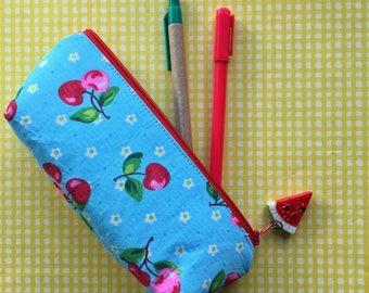 Pen & Pencil Pouch in Aqua Cherry