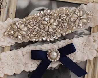 Lace Wedding Garter Set, Rustic, Wedding Garter Set, Navy Bridal Garter Set, Lace Bridal Garter Set, Something Blue Garter Set