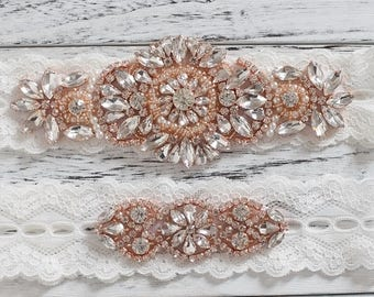 Rose Gold Wedding Garter, Wedding Garter Set, Ivory Lace Wedding Garter, Rustic Wedding Garter, Bridal Garter Set