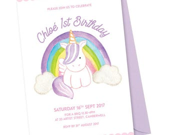 Unicorn Birthday Party Invitations A5 - Personalised & Printable