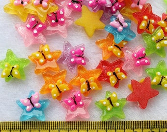 6 x resin cabochons star color mix size: 17 mm