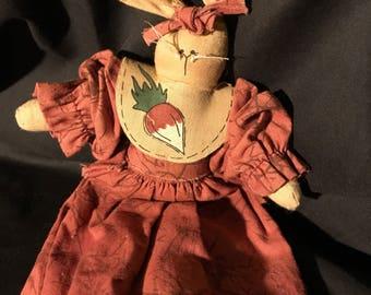 Vintage Easter girl bunny rag doll