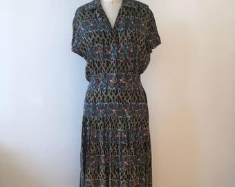 Vintage 40s silk midi dress