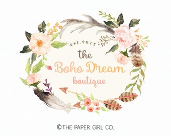 boho logo boho chic logo feather logo baby shop logo premade logo photography logo event planner logo wedding planner logo etsy shop logo
