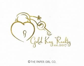 realty logo realtor logo key logo lock logo heart logo real estate logo boutique logo gold foil logo photography logo pre made key logo