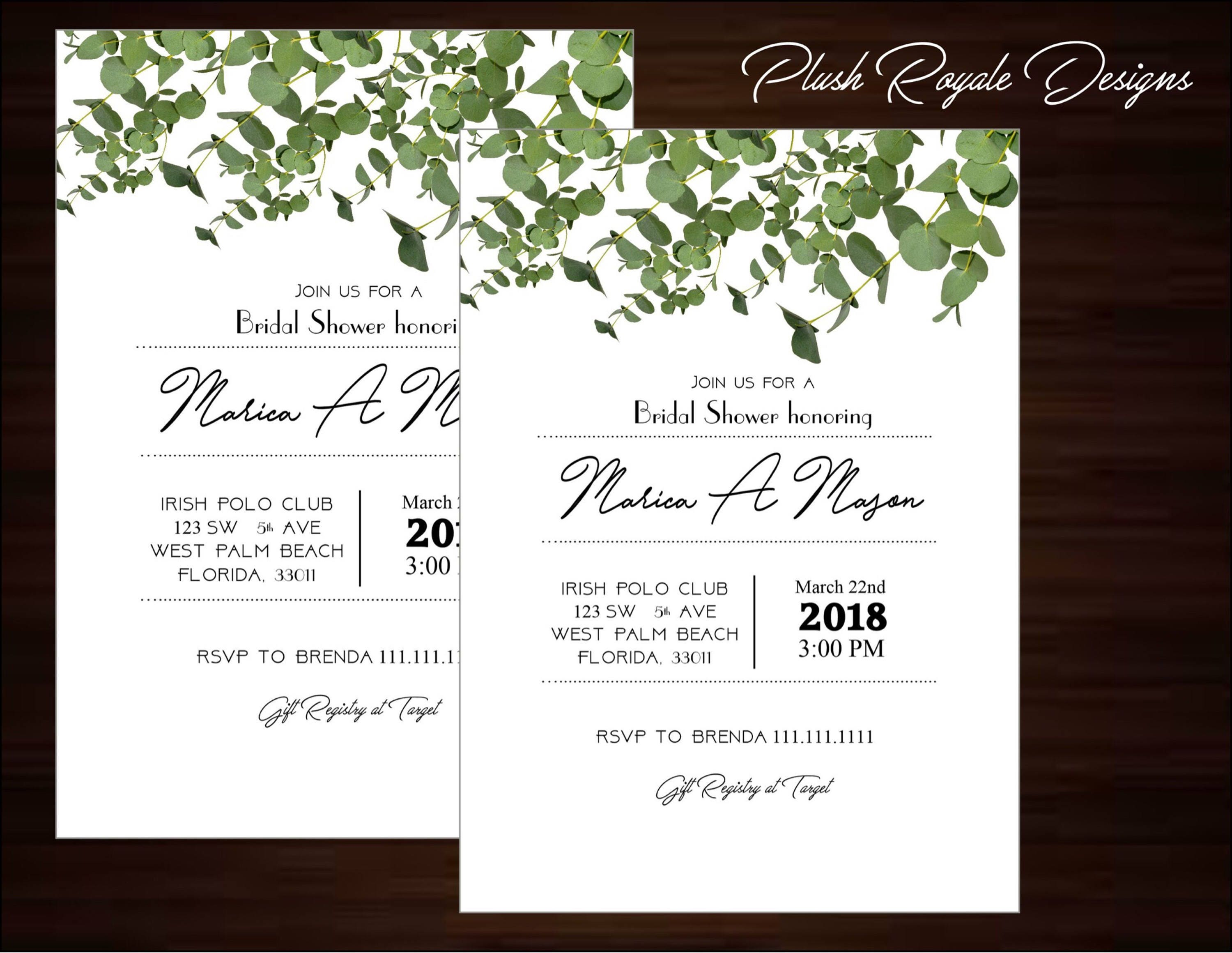 Minimalist, Greenery, Rustic, Modern, Bridal Shower Invitations ...