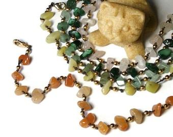 Bohemian bracelet, orange aventurine and Golden beads, with overlay