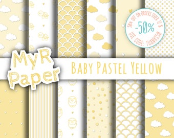 """New baby digital paper pack: """"Baby Pastel Yellow"""" pack of backgrounds sheep, turtles, dotted, striped, clouds, hearts, scallop - Baby Shower"""