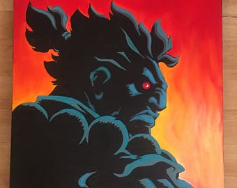 Akuma from street fighter oil painting