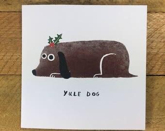 Whole Yule Dog Christmas Card, Funny Christmas Card, Yule Log, Funny Dog, Dog Lover, Festive, The Huffing Dog, John Bond
