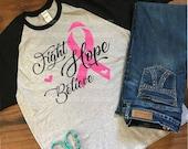 Breast Cancer SVG, Cancer SVG, Awareness Ribbon SVG, Fight Hope Believe Svg, Pink Ribbon Svg, I Wear Pink, Cancer Survivor, Fight Hope